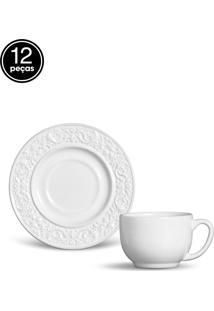 Conjunto De Xícaras De Chá Porto Brasil Baroque 12Pçs Branco