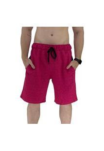 Bermuda Masculina Alto Conceito Moletom Limitado Mescla Rosa Escuro