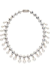 Miu Miu Crystal And Pearl Necklace - Neutro