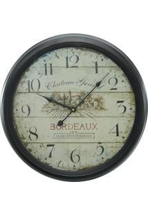 Relógio Kasa Ideia De Parede Bordeaux 62Cm