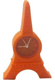 Relógio De Mesa Torre Eiffel Emborrachado Cor Laranja 12X8X2 - Tricae
