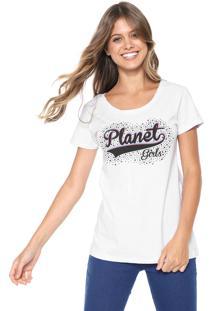 Camiseta Planet Girls Metalizada Branca
