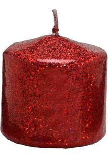 Vela Pilar Com Glitter- Vermelha- 7Xã˜7,5Cm- Mabrmabruk