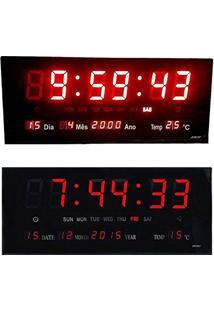 2ae0890e2f3 Relogio Digital De Parede Termo Led Vermelho Data Alarme (Rel-62)