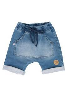 Bermuda Saruel Mini Jeans Pull-Ga Azul