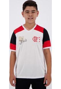 Camisa Flamengo Retrô Zico Infantil - Masculino-Branco
