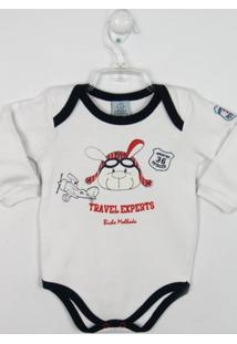 Body Bebê Manga Longa Aviador - Masculino-Branco
