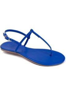 Rasteira Flat Básica Mercedita Shoes Feminina - Feminino-Azul Escuro