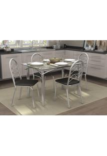 Conjunto Mesa Elba Com 4 Cadeiras Holanda Preto E Cromado Kappesberg Crome - Preto - Dafiti