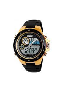 Relógio Skmei Digital -1429- Preto E Dourado