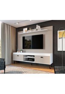 Estante Para Home Theater E Tv Até 70 Polegadas Setúbal Branco E Nude 180 Cm