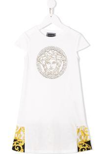 Young Versace Vestido Barroco Com Strass - Branco
