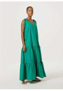 Vestido Longo Evasê Com Amarração Verde