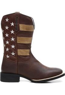 Bota Texana Bandeira - Masculino-Marrom Escuro