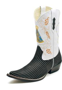 Bota Country Bico Fino Top Franca Shoes Platinado / Branco