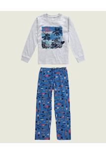 Pijama California Menino Malwee Liberta Cinza Claro - 1