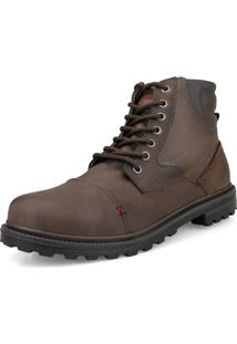 Bota Casual Urbana Way Boots Com Cadarço Ajustável E Fecho Lateral Marrom.
