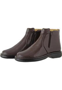Bota Pessoni Boots & Shoes Casual Conforto 100% Couro Com Ziper Lateral Marrom - Kanui