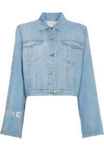 Frame Jaqueta Jeans Com Logo Bordado - Azul