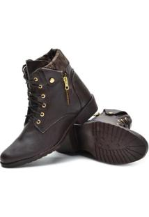 Bota Sw Shoes Cano Curto Estilo Feminina - Feminino-Marrom