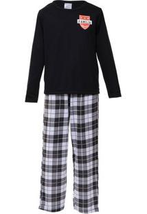 Pijama Longo Infantil Menino Família Time Xadrez Luna Cuore