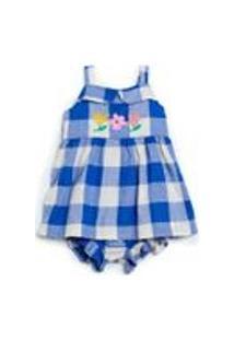 Vestido Bebe Xadrez Bordado Jojo Xadrez Azul E Off - P