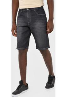 Bermuda Jeans Polo Wear Reta Estonada Azul-Marinho - Kanui