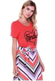 Camiseta Studio 21 Fashion Fendi Bordada Feminina - Feminino-Vermelho