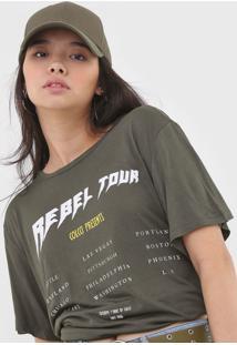 Camiseta Colcci Lettering Verde - Verde - Feminino - Viscose - Dafiti
