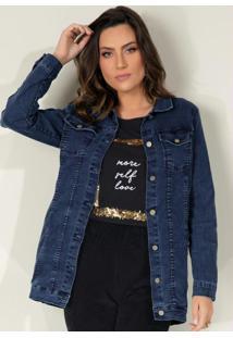 Jaqueta Alongada Jeans Escuro Com Bolsos