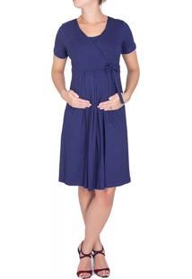 Vestido A Gestante Amamentação Laço Azul Marinho