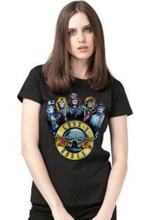 Camiseta Bandup! Guns N' Roses Skull Feminina - Feminino-Preto