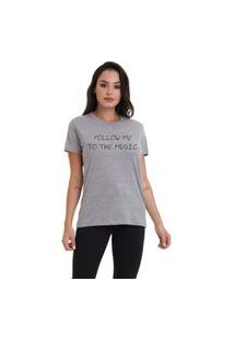Camiseta Jay Jay Basica Follow Me Cinza Mescla Dtg