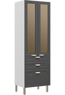 Paneleiro Duplo 2 Portas Com Vidro Reflecta E 3 Gavetas Nevada 5628Vd-Multimóveis - Branco Premium / Grafite Premium