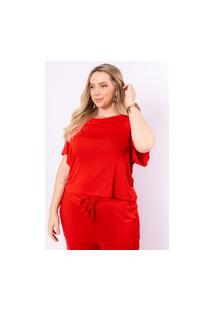 Camiseta Cropped Almaria Plus Size Munny Tricot Vermelho