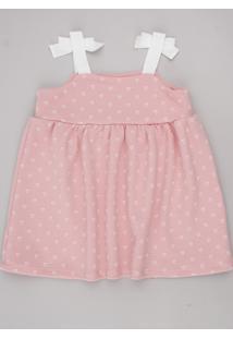 Vestido Infantil Estampado De Corações Com Laço Alças Finas Rosa