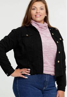 Jaqueta Feminina Sarja Destroyed Botões Plus Size