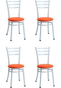 Conjunto Com 4 Cadeiras Hugh Branco E Laranja