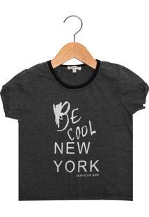 Camiseta Calvin Klein Kids Manga Curta Menina Cinza