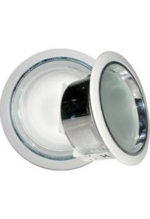 Refletor De Embutir 19Cm Com Vidro Fosco E-27 2 Lâmpadas Max 60W Branco