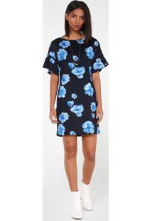 Vestido Amplo Malha Floral Blue