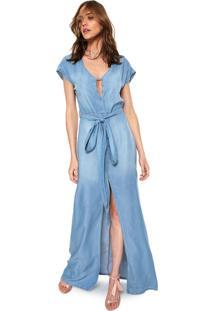 Vestido Jeans Lança Perfume Longo Evasê Azul
