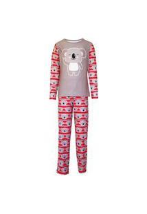 Pijama Menino Manga Longa E Calça Isabb Coala Cinza