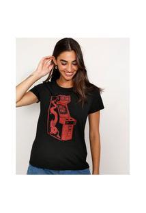 Camiseta Feminina Manga Curta Mortal Kombat Fliperama Decote Redondo Preta
