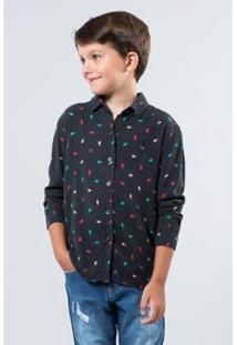 Camisa Mini Pf Poa Cometa Infantil Reserva Mini Masculina - Masculino-Preto