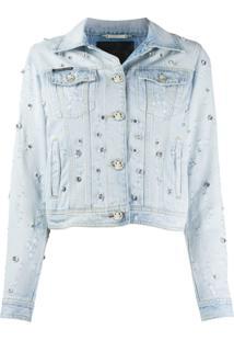 Philipp Plein Jaqueta Jeans Com Aplicações - Azul