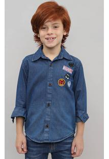 Camisa Jeans Infantil Com Patch Os Vingadores Manga Longa Azul Médio