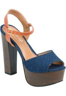 Sapato Fioratto Peep Toe Jeans - Feminino