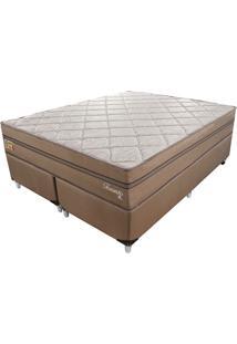 Cama Box Com Colchão Queen Toronto Mola Ensacada (70X158X198) Dourado E Bege
