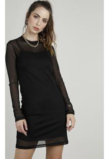 Vestido Feminino Curto Em Tule Manga Longa Preto